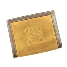 Loewe Wallet Purse Monogram Mini Agenda Brown Beige Woman Authentic Used T4719