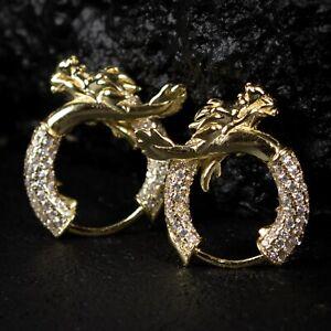 Men's Elegant Iced 6A Cz Yellow Gold Sterling Silver Dragon Huggie Hoop Earrings