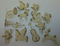 Lot of Vintage Off White Hard Plastic Gold Glitter Figural Christmas Ornaments