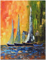 """Harbored Boats - 16x20"""" Hand Painted Modern Impressionist Oil Painting Canvas"""