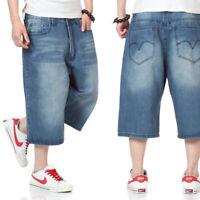 Mens Jeans Shorts Denim Shorts Loose Fit Capri Pants Big & Tell Plus Size Blue