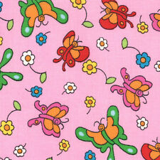 Butterflies on Pink Berenstain Bears  Moda Quilt Fabric by the 1/2 yd