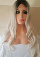 Human Hair Wig Grey Silver Blonde Centre Part Lace Front Wig
