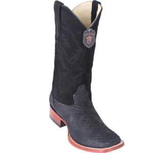 Los Altos SUEDE BLACK Genuine PYTHON SNAKE Western Cowboy Boot Square Toe EE+