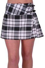 Womens Buckle Casual Tartan Checkered Pleasted Billie Kilt Mini Dress Skirt