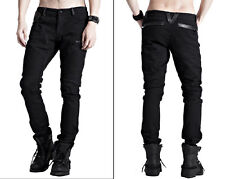 EN STOCK Pantalon jeans gothique punk biker cuir plis skull mode PunkRave Homme