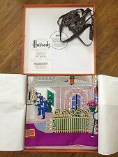 Genuine Hermes 100% Silk Twill Scarf 90cm La Maison Des Carres w Harrods Receipt
