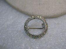 "Vintage A.B. Rhinestone Circle Brooch, 1960's-1970's, 7/8"", Silver Tone"