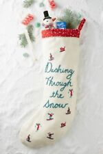 ANTHROPOLOGY Sally Pom-Pom Stocking /'J/' CHRISTMAS BRAND NEW FREE P/&P