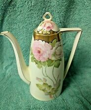 Vintage PSAG Bavarian German Handpainted Gold Pink Rose Coffeepot, Signed