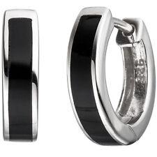 Damen Creolen rund 925 Silber mit Onyx-Imitation schwarz Ohrringe Silberohrringe
