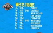 Wests Tigers 2018 Season NRL & Rugby League Trading Cards