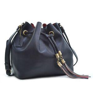 Dasein Saffiano Leather Bucket Bag
