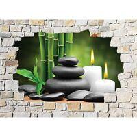 Stickers mural trompe l'oeil pierre déco Zen 8514