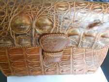 """Vintage Caramel Alligator Shoulder Bag 3-D Markings-Ecuador-10 3/4"""" X 8"""" X 3"""""""