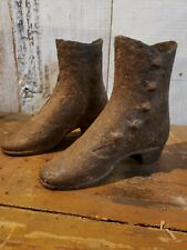 Pair 19th Century Antique American Cast Iron Dress Form Boots