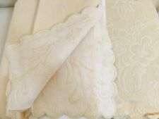 """King Bed Skirt Dust Ruffle YELLOW Matelasse Cotton Floral Scroll 17"""" Drop New"""