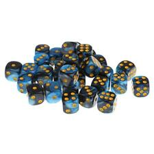 30x Blue+Black Opaque Acrylic D6 Dices w/ Box for Bar Party Casino Supplies