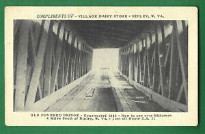 Ripley, WV, Mill Creek COVERED BRIDGE interior, postcard by Village Dairy Store