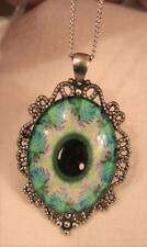 Striking Openwork Picot Rim Teal Green Eye of God Mandala Silvertone Necklace