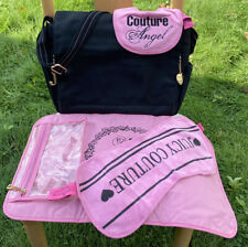 Authentic Juicy Couture Black Diaper Book Laptop Bag Changing Pad Bib Burp Cloth