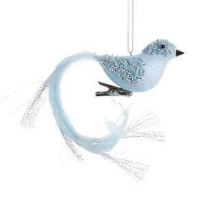 Blue With Silver Glitter Long Tail Bird With Clip Ornament w