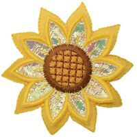 "Sunflower Applique Patch - Layered Flower, Bloom Badge 2-3/8"" (Iron on)"