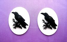 2 BLACK BIRD GOTH CROW RAVEN on WHITE Color 40mm x 30mm Costume Jewelry CAMEOS