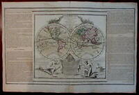 Decorative World double hemisphere 1778 Sea of West Mer de L'Ouest myth pre-Cook