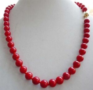 """10mm Red Sea Coral Gems Round Bead Necklace 18"""""""