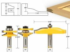 Yonico 12337 Rail And Stile Panel Raiser Router Bit Set With Large Ogee 1/2-inc