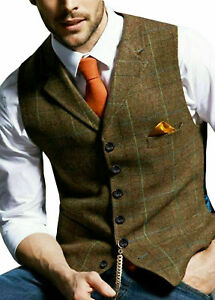 Mens Herringbone Slim Tweed Formal Vest Lapel Waistcoat Retro Sleeveless Jacket