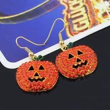 Women's Pumpkin Rhinestone Halloween Decoration Dangle Earrings Charm Jewelry