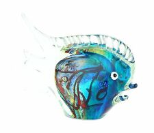 "New 11"" Hand Blown Art Glass Fish Figurine Sculpture Statue Blue Multicolor"