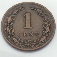 1878 Nederland Netherlands 1 One Cent Dutch Circulated Coin E828