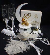 Lion King DISNEY Wedding Cake Topper LOT Glasses Server Guest Book Garter Pen