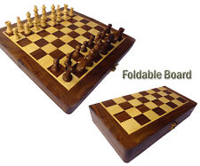 """Wooden Foldable Chess Board Box 8 x 8"""" Natural Wood made carved Coins"""