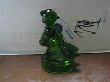 """Green Glass """"Goose Girl"""" Figurine 6""""T x 3 1/2""""W Unmarked Excellent Condition"""