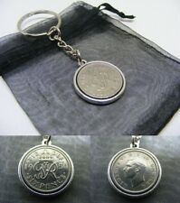 1950 Lucky Sixpence Double Sided Coin Keyring - Nice 70th Birthday Gift (SK01)