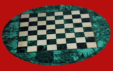 "24"" Marble Game Chess Table Top Malachite Pietra dura Handmade Work"
