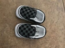 NEW Vans Classic Checkered V Crib Baby Slip on Suede Black Gum Boy sz 2 Crib
