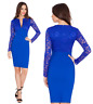 Goddess Blue V Neck Long Lace Sleeve Bengaline Fitted Pencil Party Evening Dress