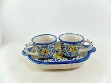 Set caffè a 3 pezzi decorato a mano in ceramica di Caltagirone