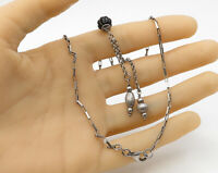925 Sterling Silver - Vintage Larger Box Chain Beaded Lariat Necklace - N1539