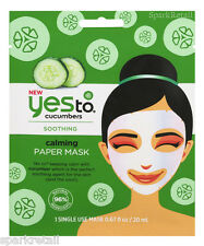Yes To Cucumbers Soothing Calming Paper Facial/Face Mask 1 x Single Use