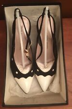 Marc Jacobs WOMENS BLACK WHITE PATENT SUEDE Slingback Shoes size 38