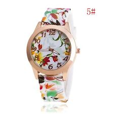 Fashion Women's Watch Silicone Printed Flower Causal Quartz Analog Wrist Watches