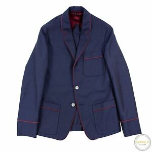 NWOT Gucci Navy Sangria Wool Mohair Iridescent Triple Patch MOP 3Btn Jacket 34US