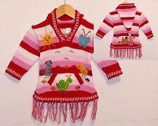 Pullover Kleid rot+rosa+weiss, Gr.80*86 Alpaka XXL-Zipfelkapuze Kinder Peru Zoo