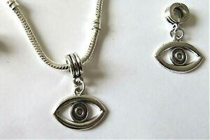"1 x Silver ""EVIL EYE"" Protection Pendant Charm Bead European Charm Bracelet"